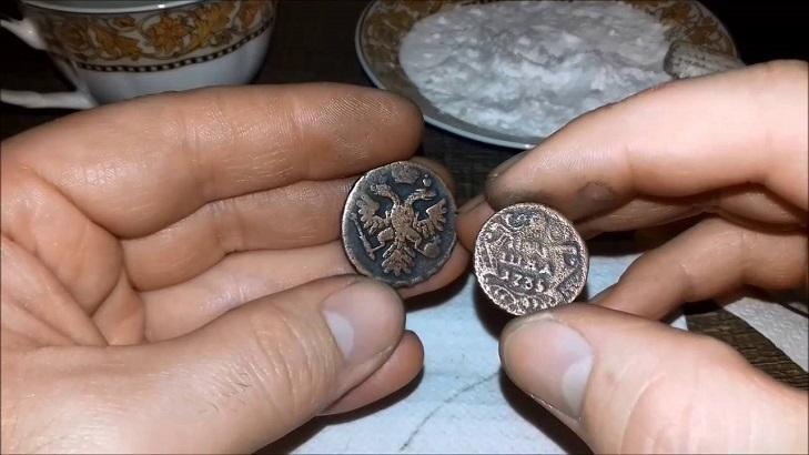 Очистка медной монеты