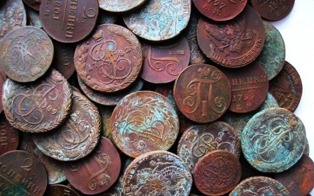 Чистка бронзовых монет