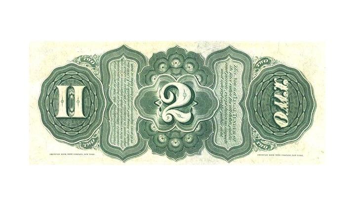 Банкнота 2 доллара США 1869 года
