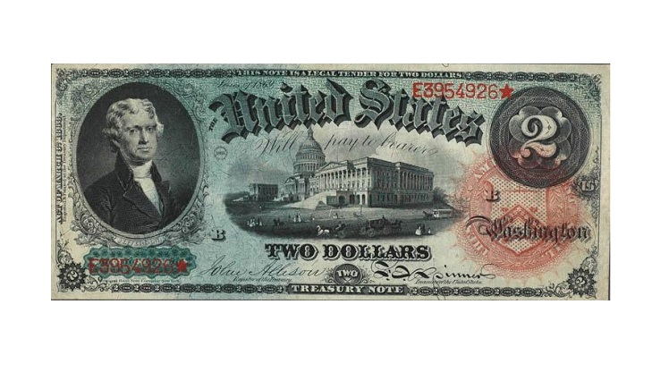 Банкнота 2 доллара США 1869 аверс