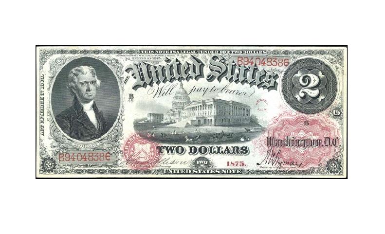 Банкнота 2 доллара США 1875
