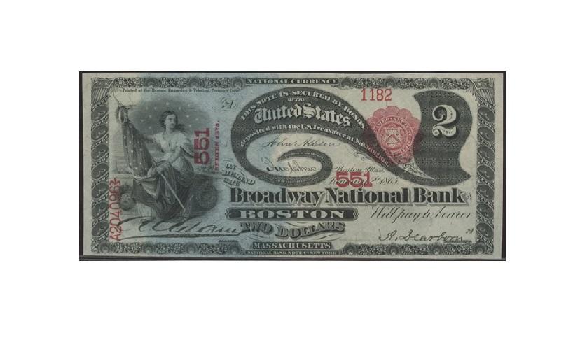 Банкнота 2 доллара США ленивая двойка