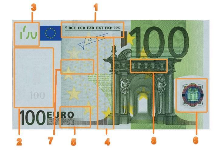 Защитные волокна на банкноте евро