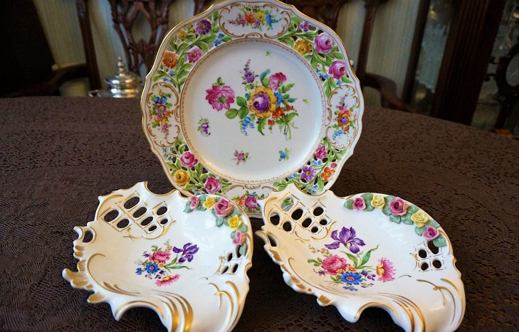Декоративные тарелки из фарфора Дрезден