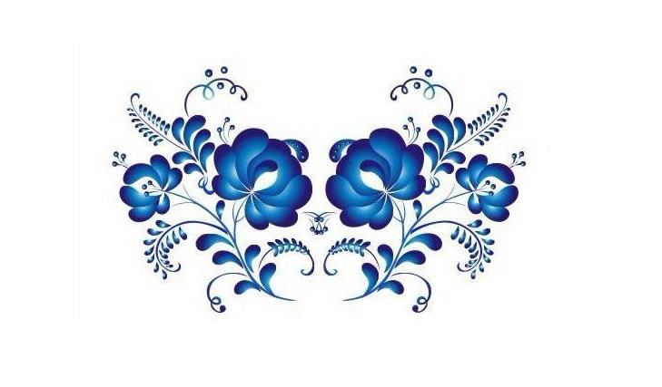 Цветочный орнамент Гжель