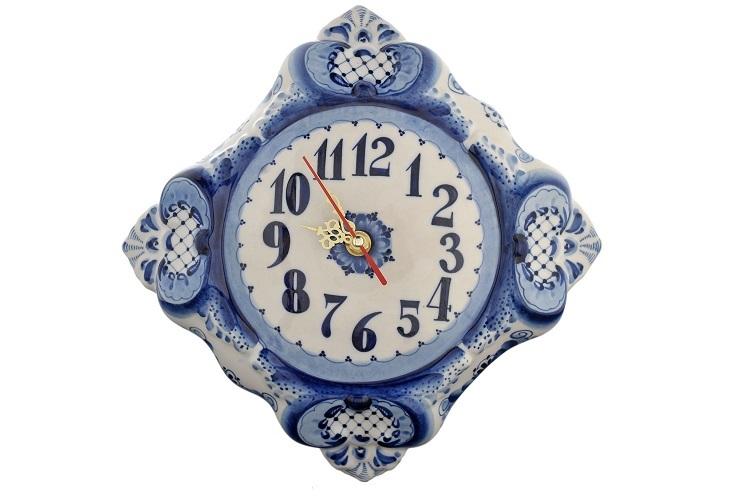 Гжельские часы из фарфора
