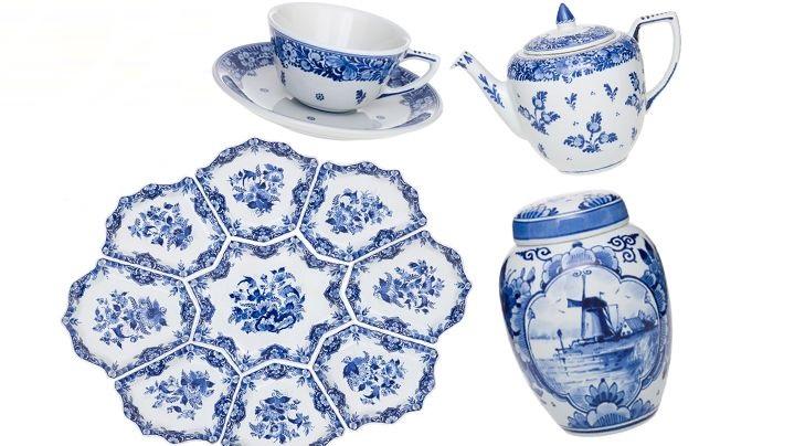 Тарелки и чашки из фарфора Делфт