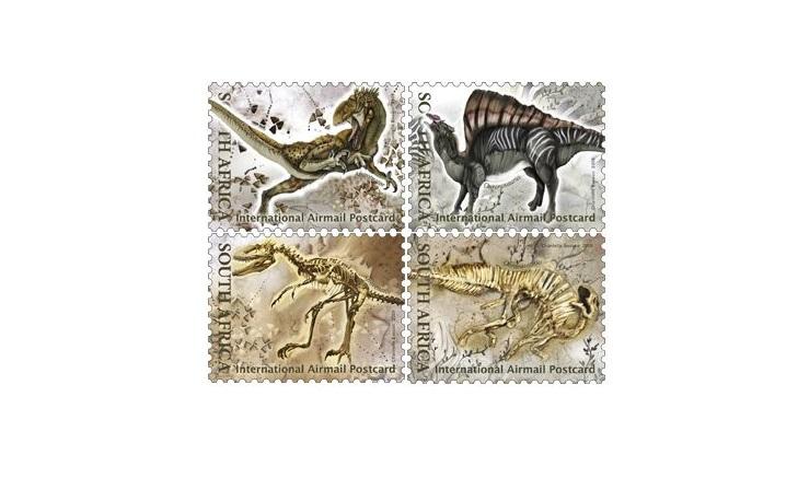 Марки с динозаврами ЮАР