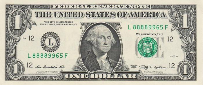 Банкнота 1 доллар паук