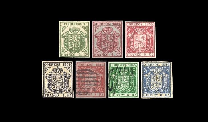 Испанские почтовые марки 1854