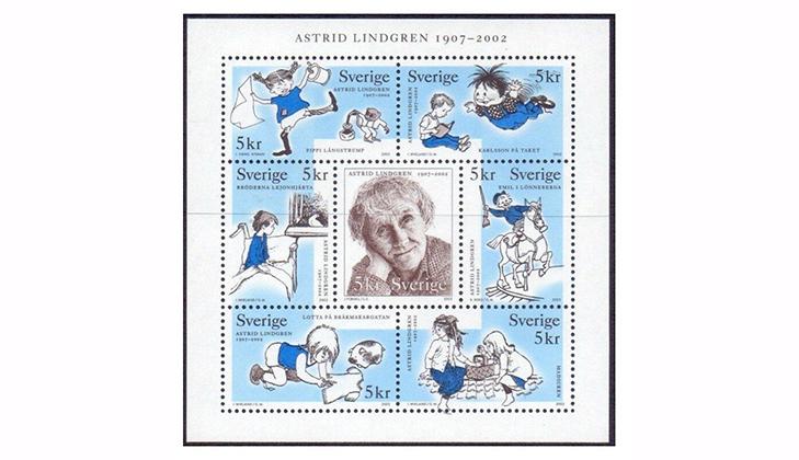 Детские марки Сказки Астрид Линдгрен