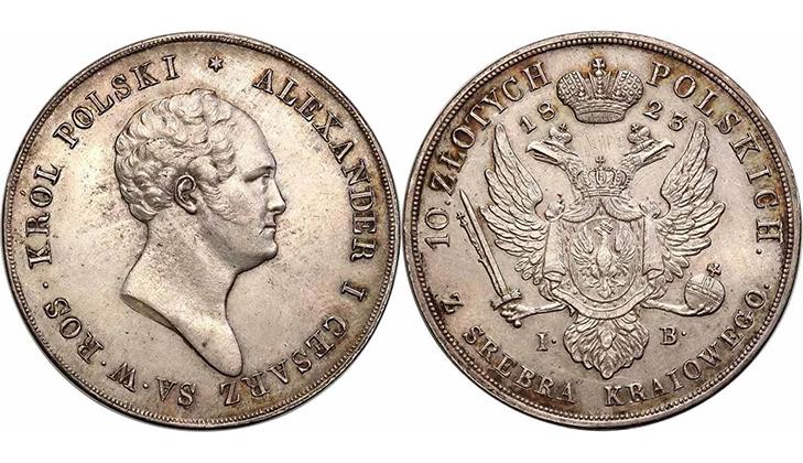 Монета 10 злотых 1823 года