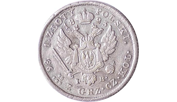 Монета 1 злотый 1823 года