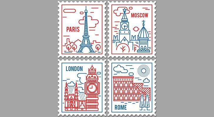 Вектор - почтовые марки