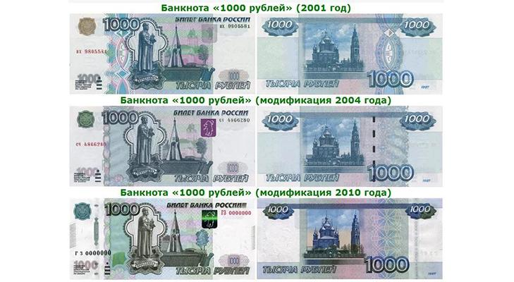 Банкнота 1000 рублей - виды