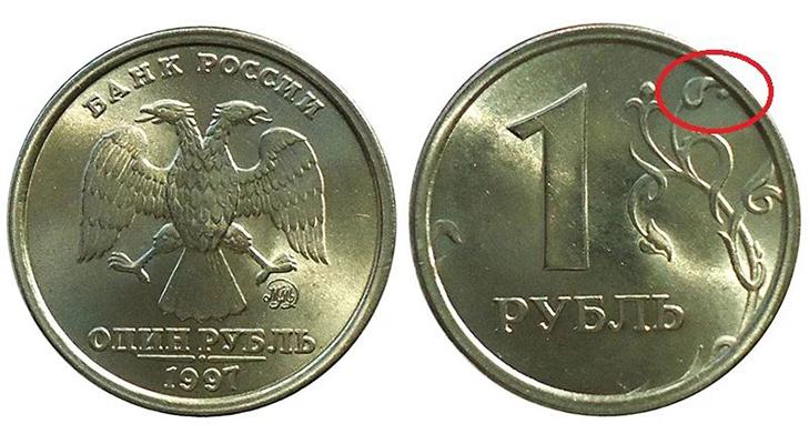 1 рубль с широким кантом 1997 года