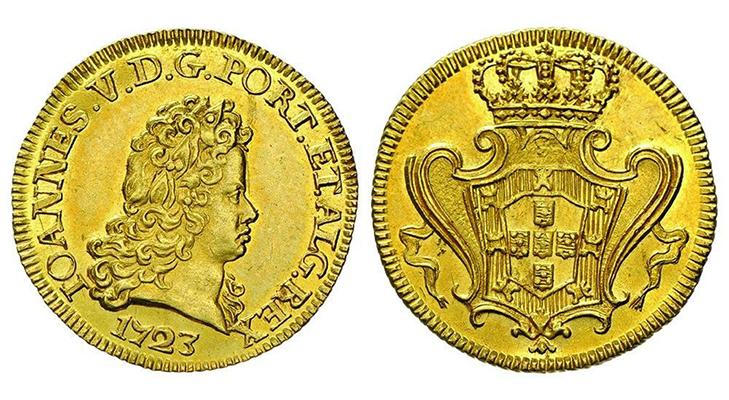 Золотая монета 1723 года (Португалия)