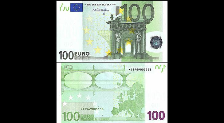 Банкнота 100 евро образца 2002 года