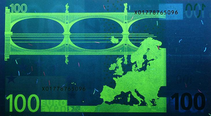 Банкнота 100 евро образца 2002 года - защита