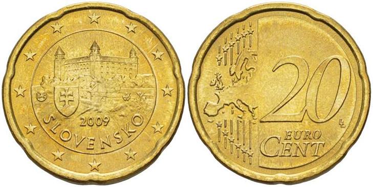 Монета 20 центов Словакия