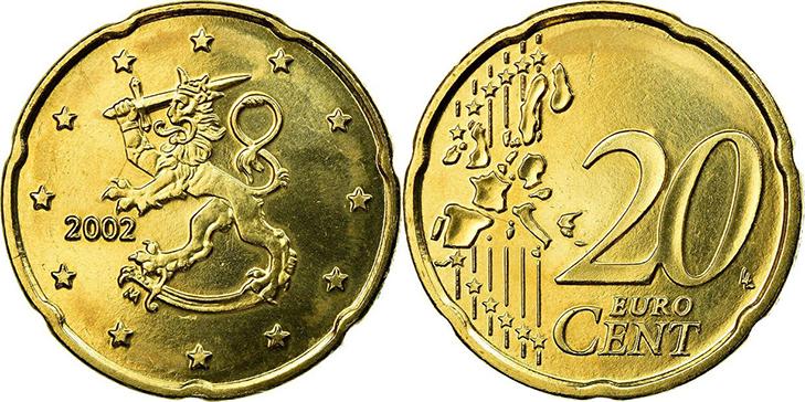 Монета 20 центов Финляндия