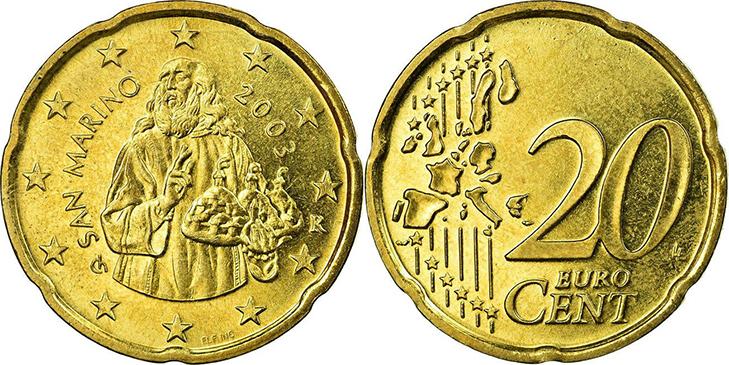 Монета 20 центов Сан-Марино