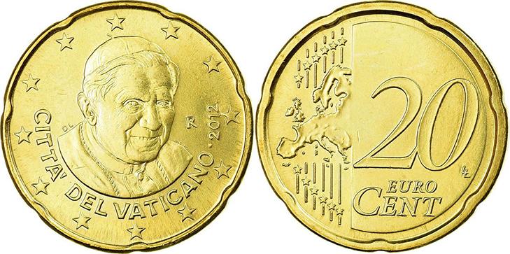 Монета 20 центов Ватикан