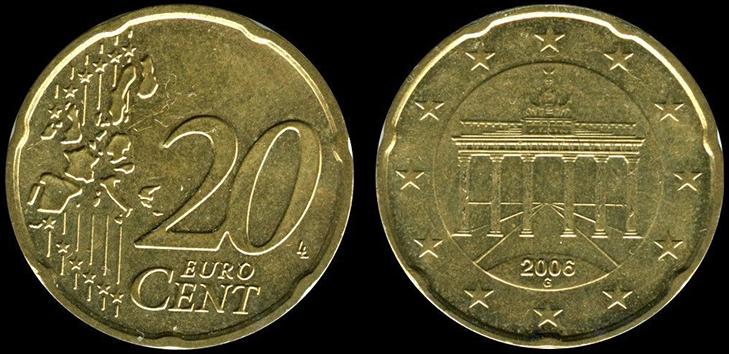 Монета 20 центов Германия