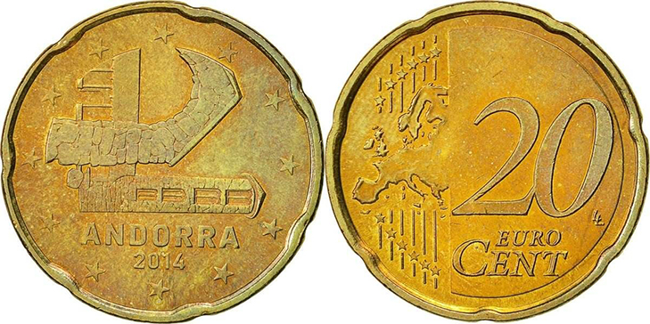 Монета 20 центов Андорра