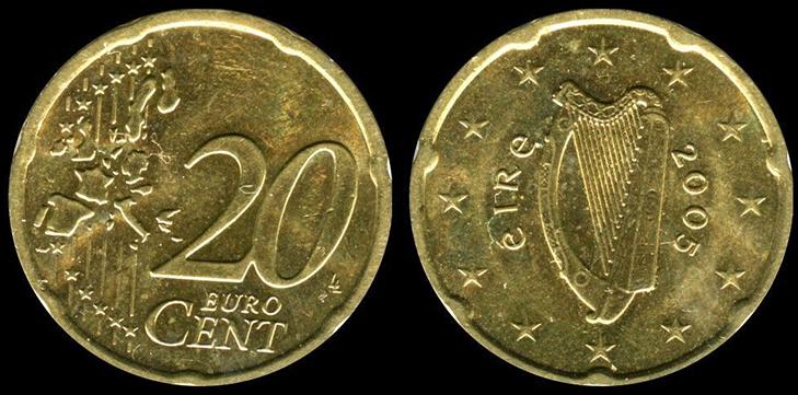 Монета 20 центов Ирландия