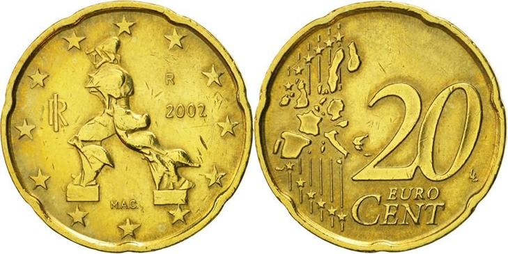 Монета 20 центов Италия