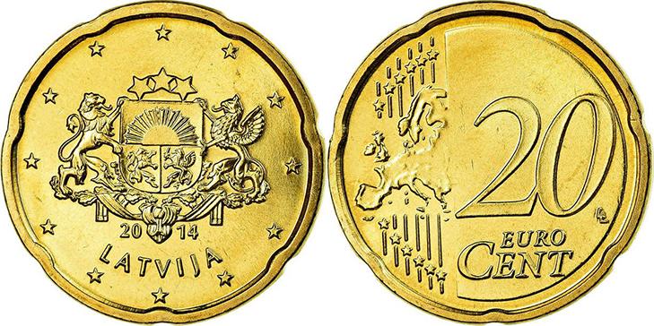 Монета 20 центов Латвия