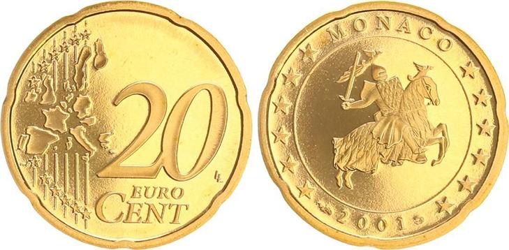 Монета 20 центов Монако