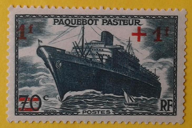Марка «Французский пароход «Пастер»