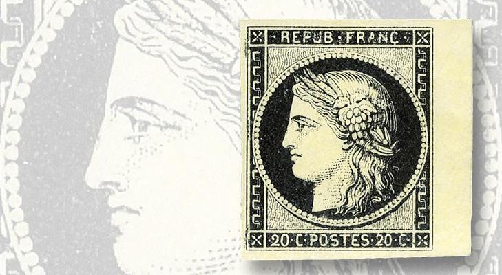 Французская марка из серии Церера