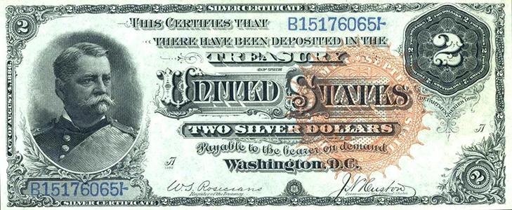 Банкнота 2 доллара 1986 года