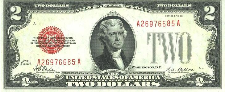 Банкнота 2 доллара 1928 год