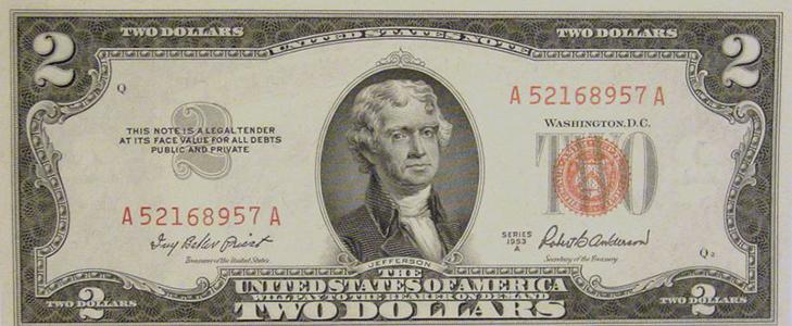 Банкнота 2 доллара 1953 года