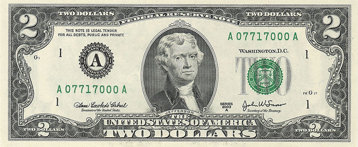 Банкнота 2 доллара 2003 года