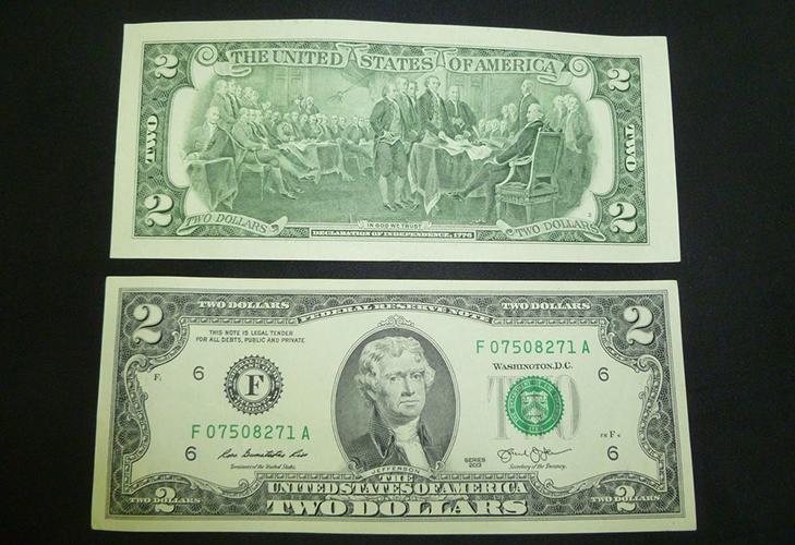 Банкнота 2 доллара  - две стороны