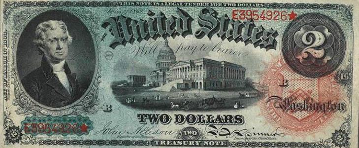Банкнота 2 доллара 1869 года