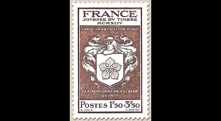 Марка Франции с изображением фамильного герба Ренуара де Вилайе