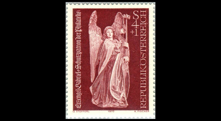 """Почтовая марка Австрии """"Архангел Гавриил"""", 1973 год"""