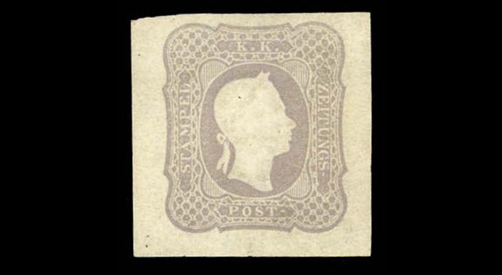 Газетная сиренево-серая австрийская марка, 1 крейцер, 1861 год