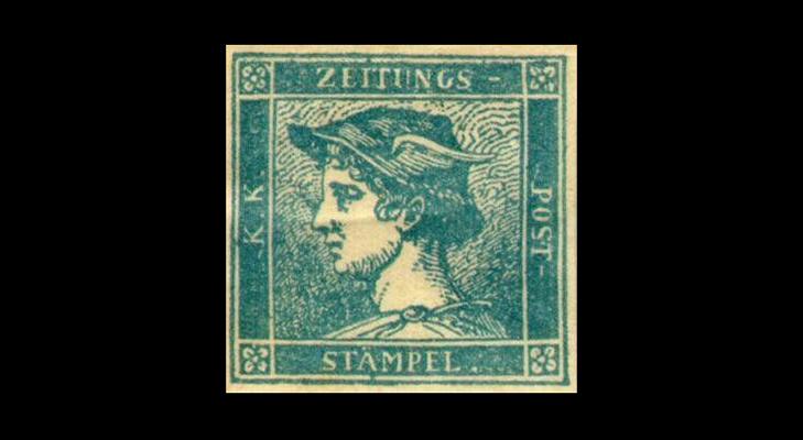 "Газетная марка Австрии ""Голубой Меркурий"" 1851 год"