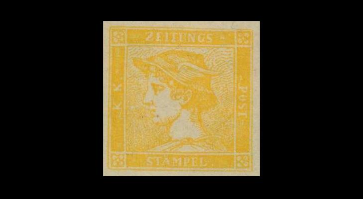 """Газетная марка Австрии """"Желтый Меркурий"""" 1851 год"""