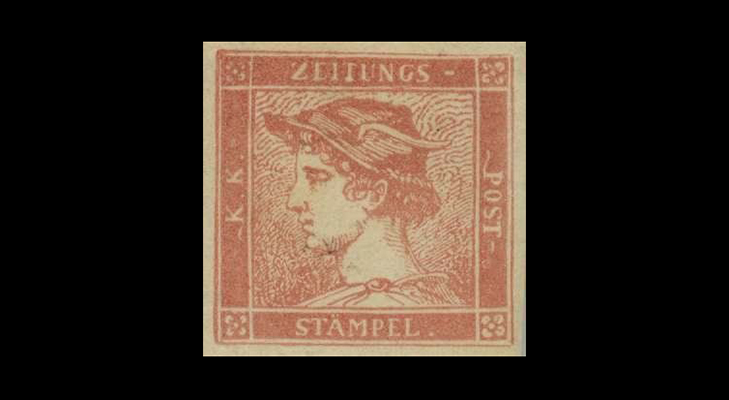 "Газетная марка Австрии ""Розовый Меркурий"" 1851 год"
