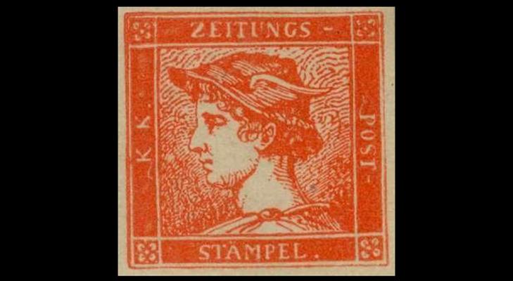 """Газетная марка Австрии """"Красный Меркурий"""" 1856  год"""