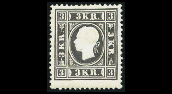Почтовая марка Австрии, 1858 год