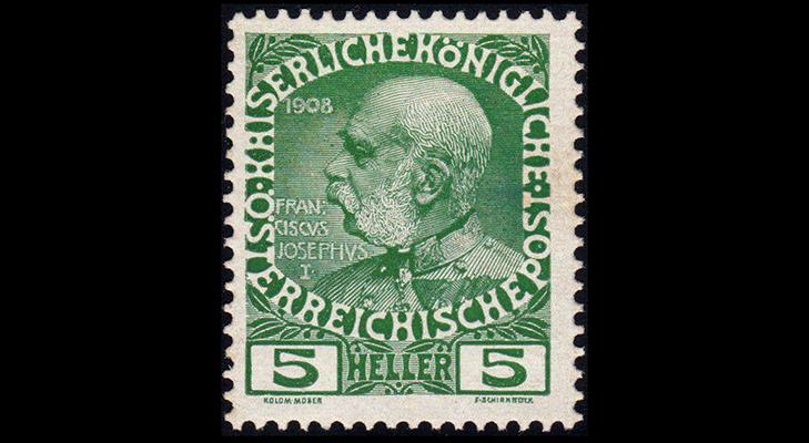 Почтовая марка Австрии, приуроченая к 60-й годовщине правления императора Франца Иосифа Первого, 1908 год